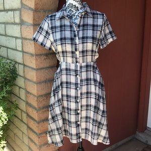 Anthropologie 11-1-Tylho plaid dress